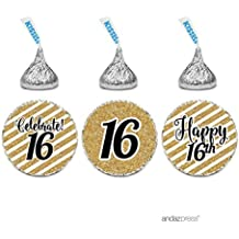 Andaz Press Milestone Chocolate Drop Labels Trio, Fits Hershey's Kisses Party Favors, Celebrate 16, Sweet 16th Birthday or Anniversary, 216-Pack, Printed Gold Glitter, Not Real Glitter