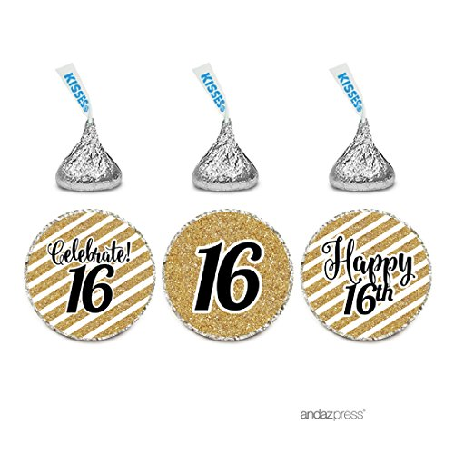 Celebrate Sweet 16 - Andaz Press Milestone Chocolate Drop Labels Trio, Fits Hershey's Kisses Party Favors, Celebrate 16, Sweet 16th Birthday or Anniversary, 216-Pack, Printed Gold Glitter, Not Real Glitter