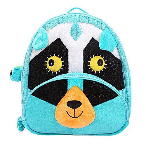 Primary Backpacks for Boys Girls Plush Cute 3D Animal Cartoon Children Preschool Backpack for Toddler Kids Students Plush Bag Blue Civet Cat