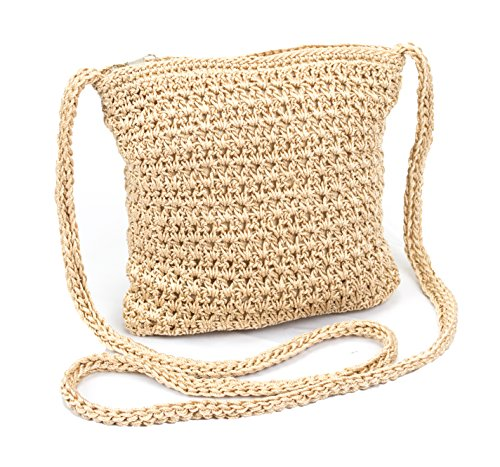 Boho Crochet Crossbody Handbag, Organizer Sling Bag, Small Crocheted Hippie Purse (Beige)