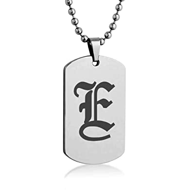 Old english letter e engrave dog tag necklace pendant with stainless old english letter e engrave dog tag necklace pendant with stainless steel chain giftpouch thecheapjerseys Image collections