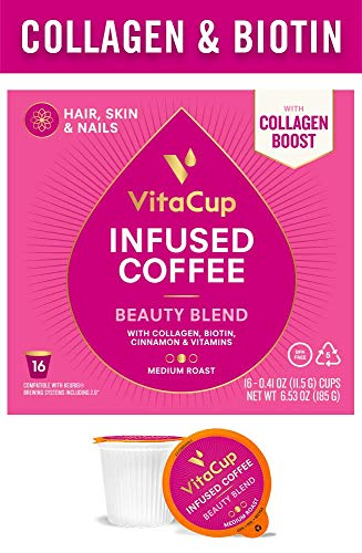 (VitaCup Beauty Blend Coffee 16 Ct. Infused with Collagen, Biotin, Cinnamon, and Essential Vitamins, Compatible with K-Cup Brewers Including Keurig 2.0)