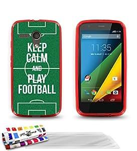 """Carcasa Flexible Ultra-Slim MOTOROLA MOTO G X1032 de exclusivo motivo [Keep Calm And Play Football] [Roja] de MUZZANO  + 3 Pelliculas de Pantalla """"UltraClear"""" + ESTILETE y PAÑO MUZZANO REGALADOS - La Protección Antigolpes ULTIMA, ELEGANTE Y DURADERA para su MOTOROLA MOTO G X1032"""