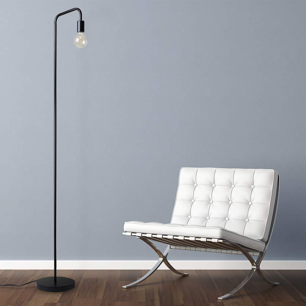 O'Bright Industrial Floor Lamp for Living Room, 100% Metal Lamp, UL Certified Ceramic E26 Socket, Minimalist Design for Decorative Lighting, Stand Lamp for Bedroom/Office/Dorm, ETL Listed, Black by O'Bright (Image #6)