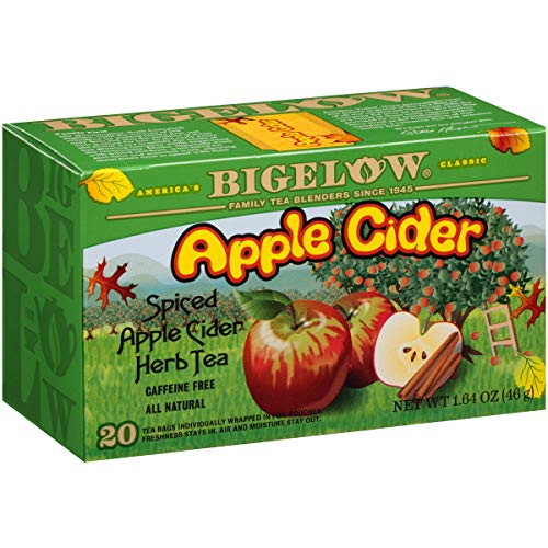 Ice Apple Cider - Bigelow Apple Cider Herbal Tea 20-Count Boxes (Pack of 6), 120 Tea Bags Total.  Caffeine-Free Individual Herbal Tisane Bags, for Hot Tea or Iced Tea, Drink Plain or Sweetened with Honey or Sugar
