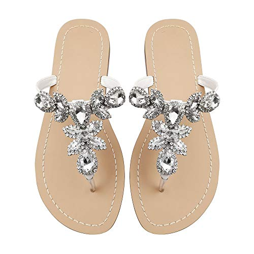 Hinyyrin Women's Summer Sandals White Rhinestone Jeweled Sandals for Women Bling Jelly Flat Sparkly Sandals Dress Dressy Flip Flops Size 7.5