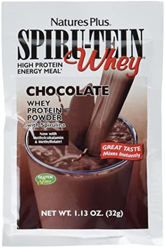 NaturesPlus SPIRU-TEIN Whey Shake – Chocolate – 8 Single Serving Packets, Whey Protein Powder – Meal Replacement With Spirulina, Vitamins Minerals For Energy – Vegetarian, Gluten-Free – 8 Servings