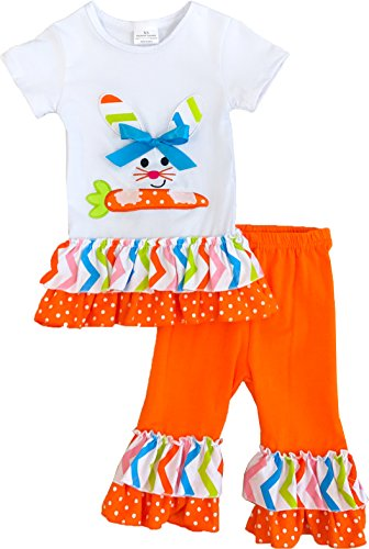 Boutique Little Girls Easter Bunny Carrot Polka Dots Ruffles Capris Outfit Set Orange -