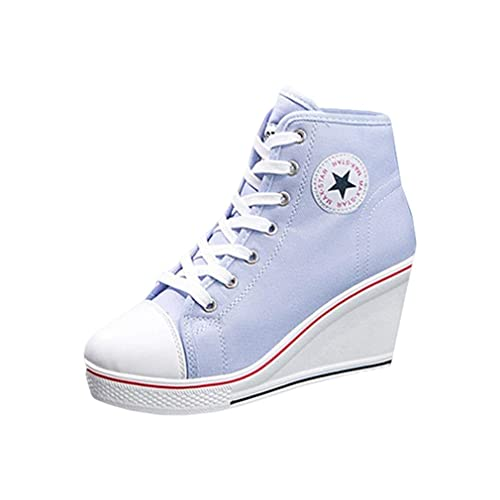 release date 2a417 7ee25 Damen Keilabsatz Sneakers Canvas Turnschuhe Sportschuhe Freizeit Schuhe mit  Seitliche Reißverschluss Frauen Wedges Schnürschuhe Sneakers Schuhe Sechs  ...