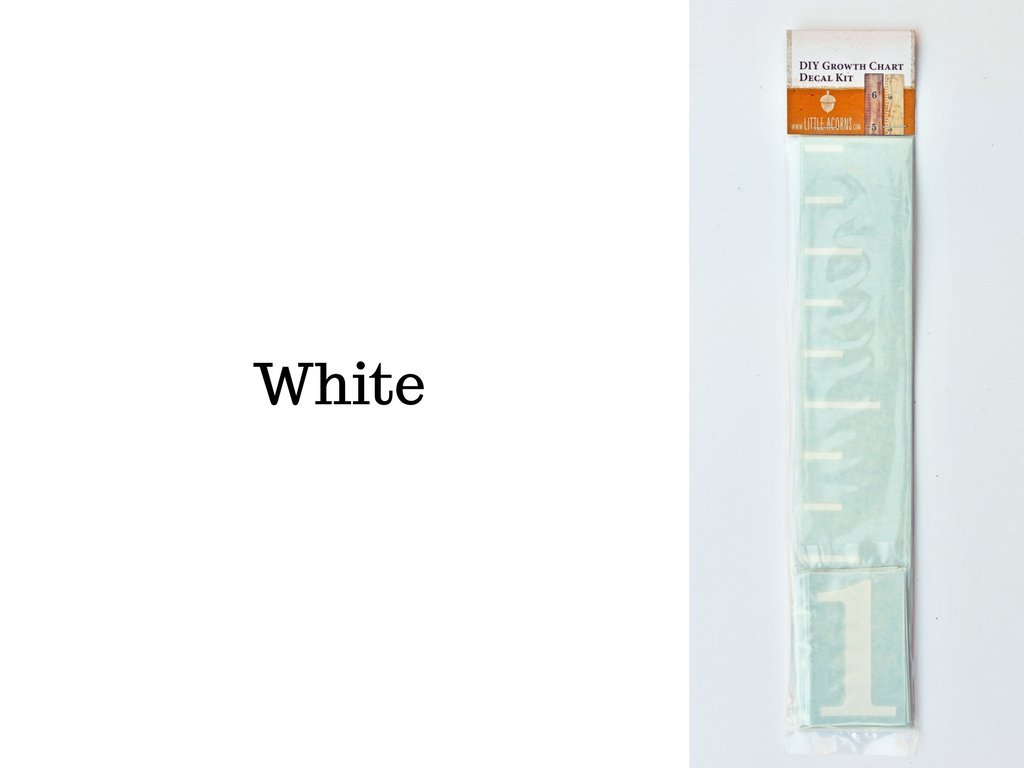 DIY Vinyl Growth Chart Ruler Decal Kit, Large #s - White