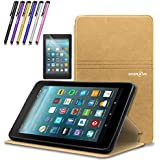 Mignova case for All-New Fire 7 Tablet (2017 7th Gen) - Ultra Slim Lightweight With Kick Stand Cover For All-New Fire 7 Tablet (7th Gen 2017 release) + Screen Protector Film and Stylus Pen (Gold)