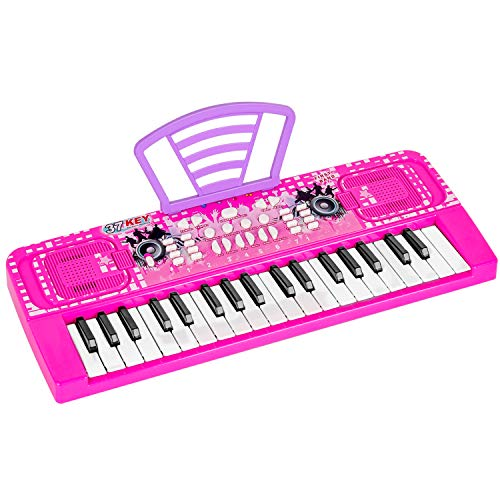 M SANMERSEN Piano Keyboard for Kids, 37 Keys Portable Electronic Musical Instrument Educational Keyboard Piano Toy for Kids Early Learning Birthday Christmas Day Gifts for Kids (Pink)