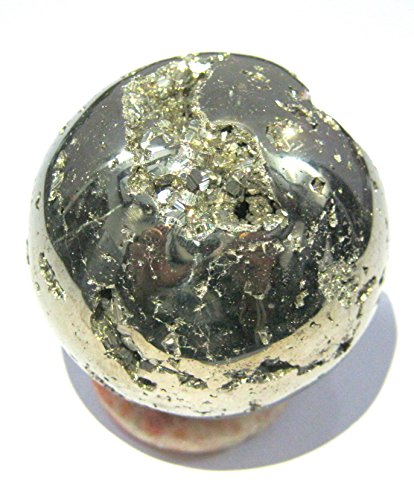 CRYSTALMIRACLE POWERFUL 184 GRAMS GOLDEN PYRITE 45 MM SPHERE CRYSTAL HEALING METAPHYSICAL GEMSTONE REIKI FENG SHUI HOME OFFICE GIFT ENERGY HEALTH AURA DEFLECTOR FOOL'S GOLD CLUSTER MEDITATION WEALTH
