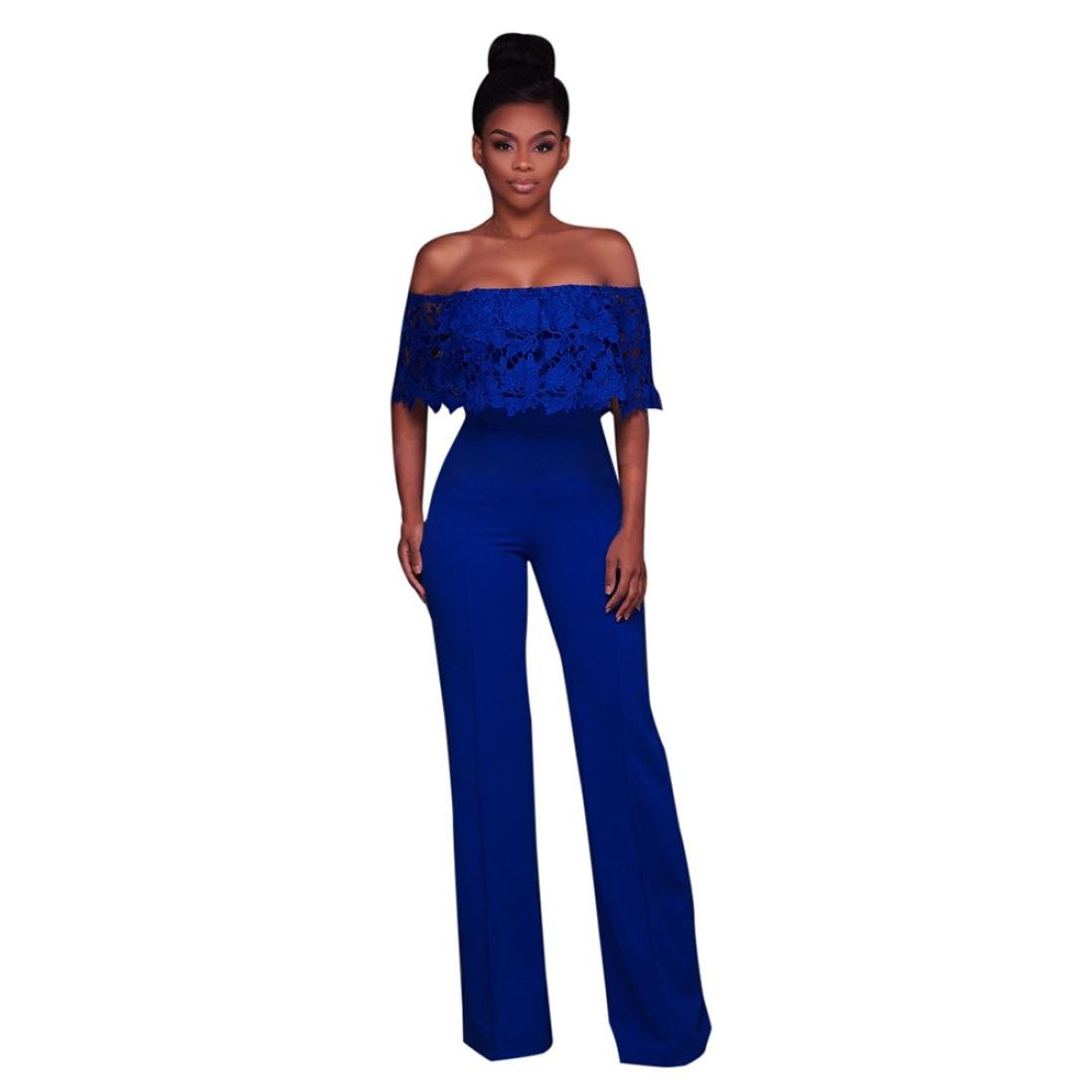 6da6613a59f Amazon.com  Rambling Womens Sexy Casual Bodycon Strappy Off Shoulder High  Waisted Long Wide Leg Jumpsuits Rompers  Clothing