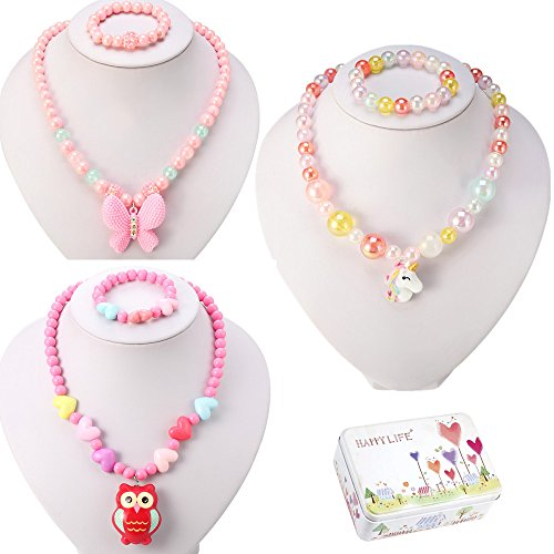 d Necklace and Bracelet 3 Sets, Butterfly Unicorn Owl Necklace and Bracelet 3 Sets, Party Favors Bags for Kids ()
