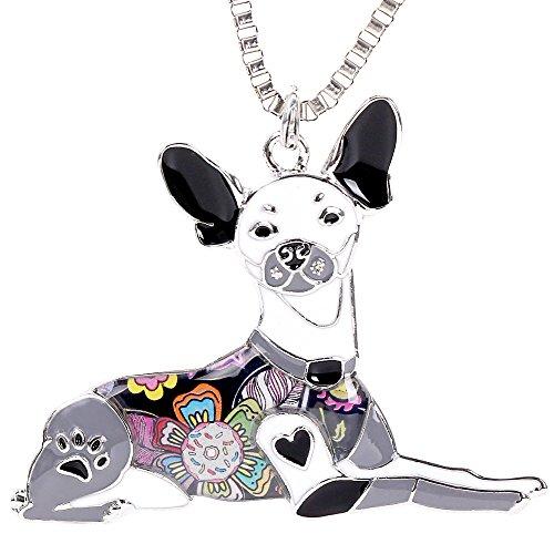 Marte&Joven Rat Terrier Keychain Jewelry for Women Cute Enamel Pet Dog Pendants Necklace Box Gifts-Black