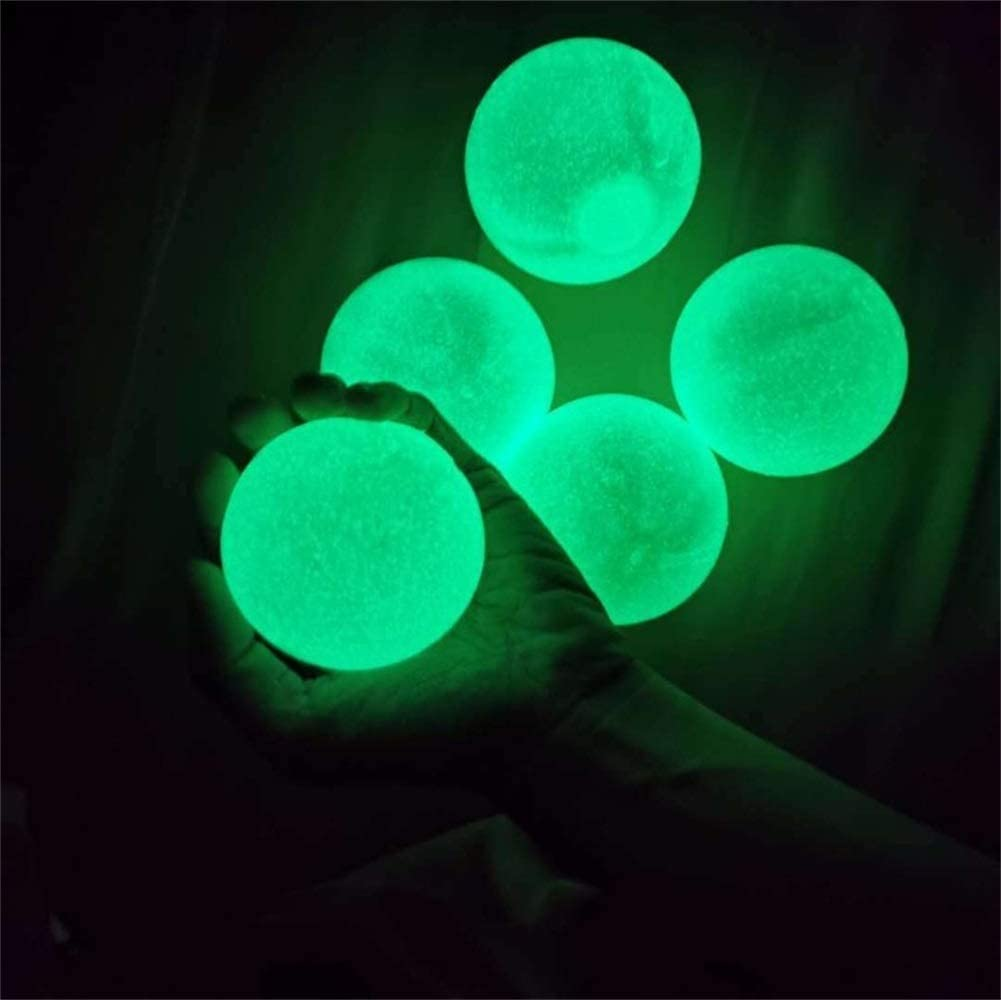 Squishy Glow Stress Relief Toys for Kids and Adults Tear-Resistant OCD 45mm 4 Pcs Luminescent Stress Relief Balls Sticky Ball Anxiety Fun Toy for ADHD Stick to The Wall and Slowly Fall Off