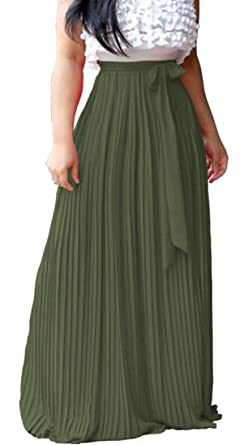 0cb69b356 Revolutee Womens Pleated Belt Swing Loose Fit High Rise Solid Color Maxi  Skirts Army Green XX