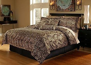 Amazon.com: 5 Piece Twin Leopard Animal Kingdom Bedding Comforter ...