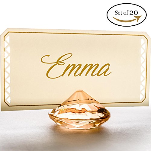 GOLD Diamond Table Number & Place Card Holders - Set of 20 Sturdy Acrylic Name Card Holders Perfect for Your Wedding & Party