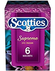 Scotties Supreme 3-ply Facial Tissues, Hypoallergenic and Dermatologist Approved, 6 Boxes, 88 Tissues per Box