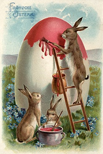 Easter Greetings in German, Rabbits Painting an Egg - Vintage