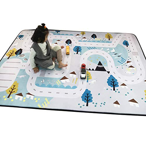 (Olpchee Kids Play Mat Cartoon Carpet Baby Crawling Mat Foam Rug Play Car Traffic Game Pad Game Room Area Rug (Village))