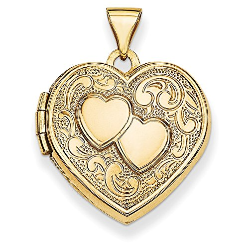 Solid 14k Yellow Gold Double Heart Locket (19mm x 24mm)