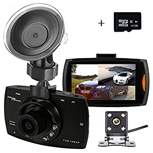 Dual Dash Cam Backup Camera with FHD 1080P Resolution 2.7''LCD Screen Night Vision Safety Parking Monitor and 140 Degree Dashboard Cam 170 Degree Waterproof Rear View Camera(16GB Card)