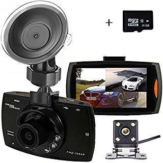 Discount Dual Dash Cam Backup Camera with FHD 1080P Resolution 2.7''LCD Screen Night Vision Safety Parking Monitor and 140 Degree Dashboard Cam 170 Degree Waterproof Rear View Camera(16GB Card)