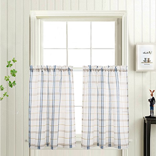 Classic Plaid Kitchen Curtains Checkered Design Linen Textur