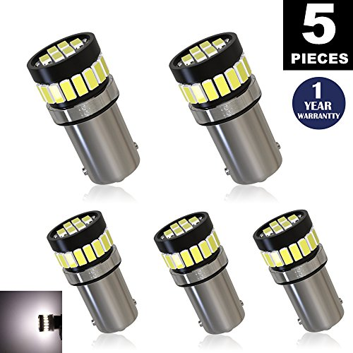 LUYED 5 x Super Bright 3014 24-EX Chipsets BA9 BA9S 53 57 1895 64111 LED Bulbs Used For Side Door Courtesy Lights Map Lights,Xenon White (Ba9s Led)