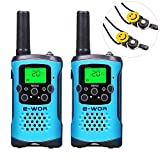 E-wor Walkie Talkies For Kids ,22 Channels FRS/GMRS UHF Kids Walkie Talkies, 2 Way Radios 4 Miles Walkie Talkies Kids Toys With Flashlight, 3 Pair(Blue)