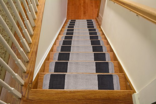 Millenium Stair Tread Treads Meander Greek Key Design Indoor Skid Slip Resistant Carpet Stair Tread Treads Machine Washable 8 ½ inch x 30 inch (Set of 13, Meander Grey)