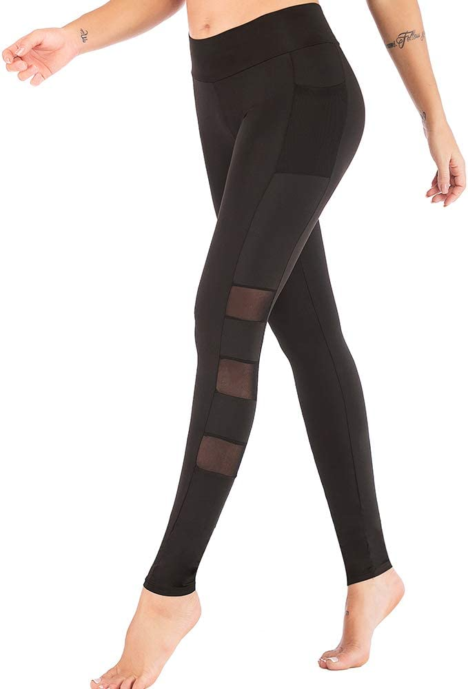 Womans Yoga Pants, Women Yoga Pants with Side Pockets 4 Way Stretch Tummy Control Sports Workout Running Yoga Leggings