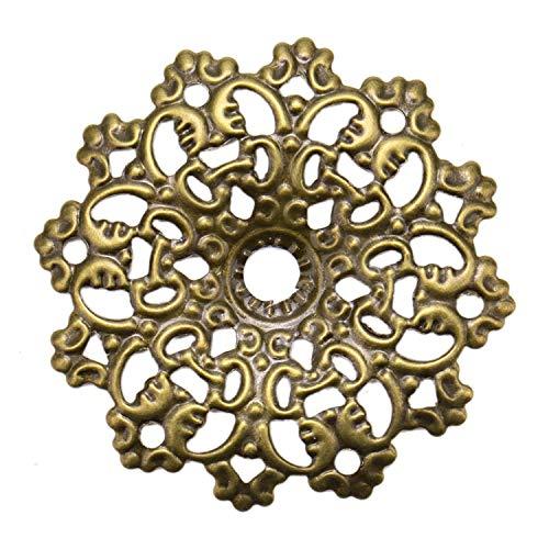 JETEHO 40pcs Metal Filigree Flower Wraps Connectors Filigree Jewelry ()