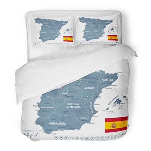 SanChic Duvet Cover Set Blue Catalonia of Spain Map Gray Aragon Barcelona City Balearic Decorative Bedding Set with 2 Pillow Shams Full/Queen Size by SanChic
