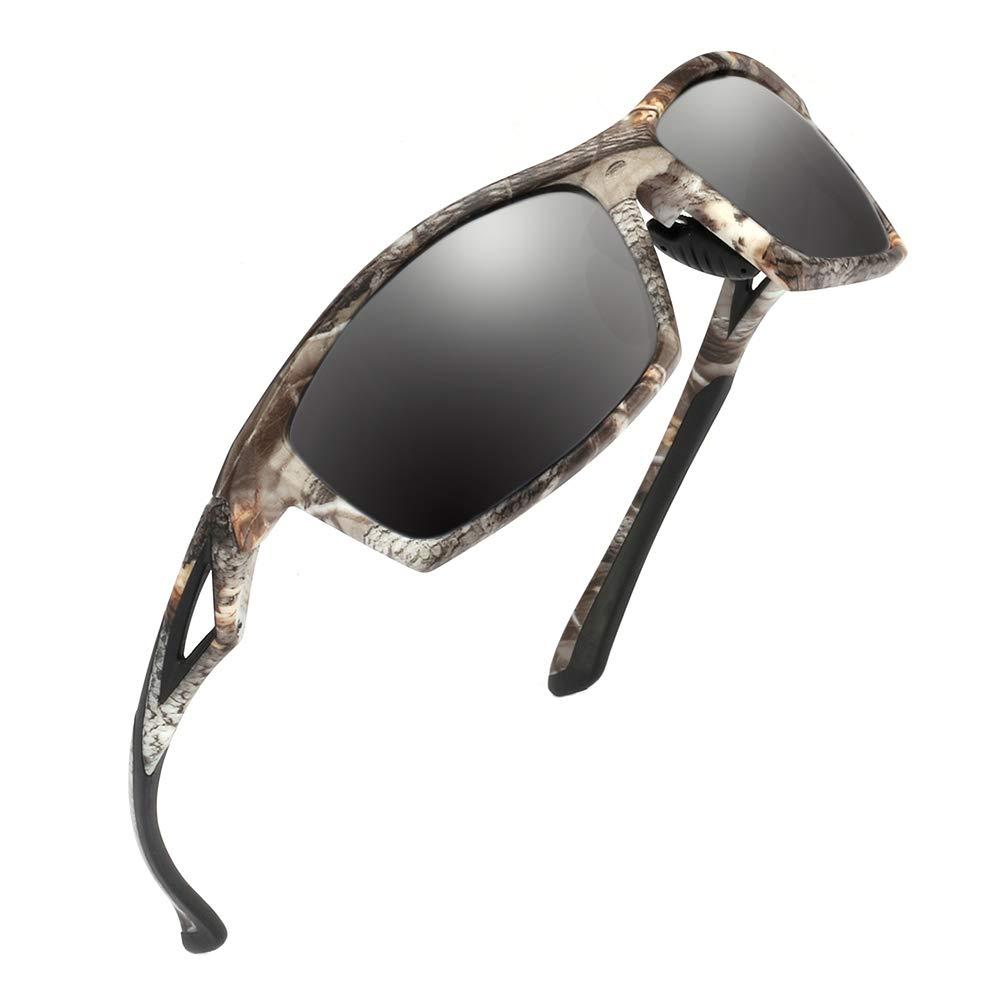 Camo Sports Sunglasses Men Polarized - TR90 Super Lightweight Frame for Fishing Hunting Cycling (Camo Black Frame Gray Lens)