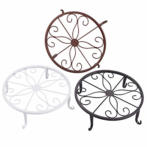 Metal Works Plant Stand - FaithLand Metal Potted Plant Stand, Pot Holder, Decorative Pot Trivet, 9 inch, Set of 3 Colors, White, Black & Brown