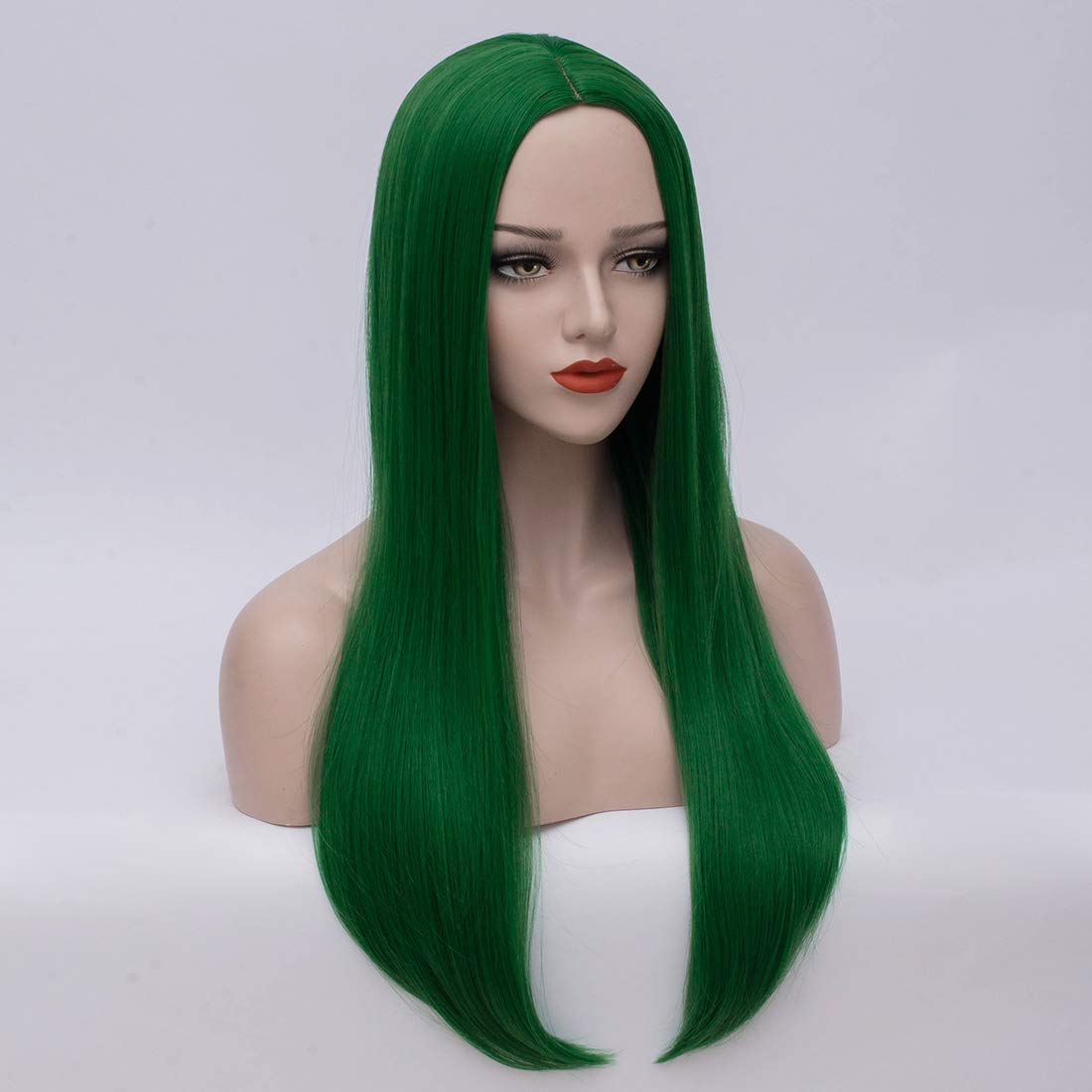 Bopocoko Green Wigs for Women Short Straight Ombre Green Yellow Hair Wigs with Dark Roots Natural Looking Daily Party Cosplay Wig BU161