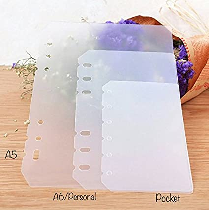 A7/Pocket Size PVC Planner Dashboard Clear Sheet Dividers for Use with 6 Ring Agenda
