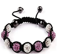 Shamballa Bracelet White & Purple Ball Friendship Bead Unisex Bracelets Swarovski Crystal Beads