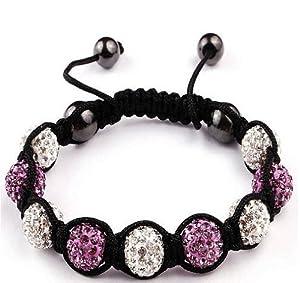 Shamballa Bracelet White & Purple Ball Friendship Bead Unisex Bracelets Swarovski Crystal Beads