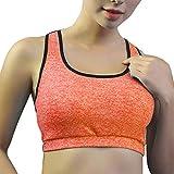 CapsA Women Racerback Sports Bras High Impact Workout Yoga Gym Activewear Fitness Bra Seamless Sports Bras Orange