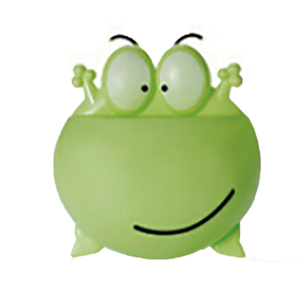 Toothbrush Holder Wall Mounted Cartoon Sucker Toothbrush Holder Frog Shape Toothbrush Toothpaste Holder for Bathroom (Green)