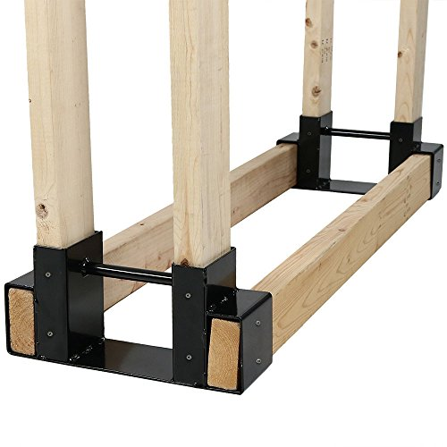 (Sunnydaze Outdoor Firewood Log Rack Bracket Kit, Fireplace Wood Storage Holder - Adjustable to Any)