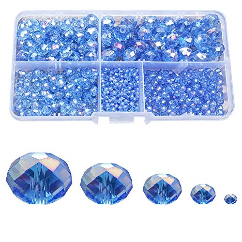 - Chengmu 2-10mm Blue Rondelle Glass Beads for Jewelry Making AB Colour 710pcs Faceted Briolette Shape Crytal Spacer Beads Assortments Supplies for Bracelet Necklace with Elastic Cord Storage Box