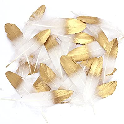 Coceca 55PCS Gold Dipped Natural White Feathers for Various Crafts, Birthday Parties, Wedding and Party Dress-ups