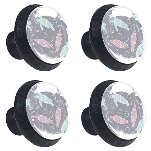 Sea Turtle Blue Pink Space Drawer Knob Pull Handle Crystal Glass Circle Shape Cabinet Drawer Pulls Cupboard Knobs with Screws for Home Office Cabinet Cupboard 4 Pieces ()