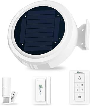 KOOCHUWAH Sistema de Alarma Solar gsm para Autocaravanas,Caravanas,con Alarma Solar, Sensor de Movimiento PIR, Contacto de Puerta y Ventana, Teclado